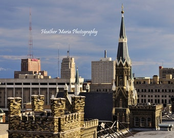 Trinity Lutheran 2, view of Milwaukee, WI from the Historic Pabst Brewery site, fine art photography 8x10 or 11x14 photo