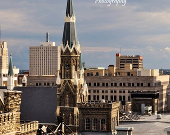 Trinity Lutheran 3, Milwaukee, WI, taken from the Historic Pabst Brewery Site, 8x12 fine art photo