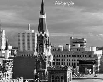 Trinity Lutheran 3, in Black and White, Milwaukee WI 8x10 or 11x14 photo, taken from the historic Pabst Brewery site