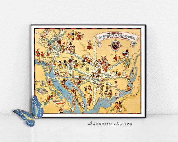 WASHINGTON DC MAP Print - vintage District of Columbia 1930's picture on map of seattle cartoon, map of alaska cartoon, map of florida cartoon, map of usa cartoon, map of boston cartoon, map of canada cartoon, map of london cartoon, map of france cartoon, map of los angeles cartoon,