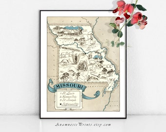 MISSOURI MAP PRINT - vintage pictorial map print - perfect housewarming or wedding gift - size & color choices - can be personalized