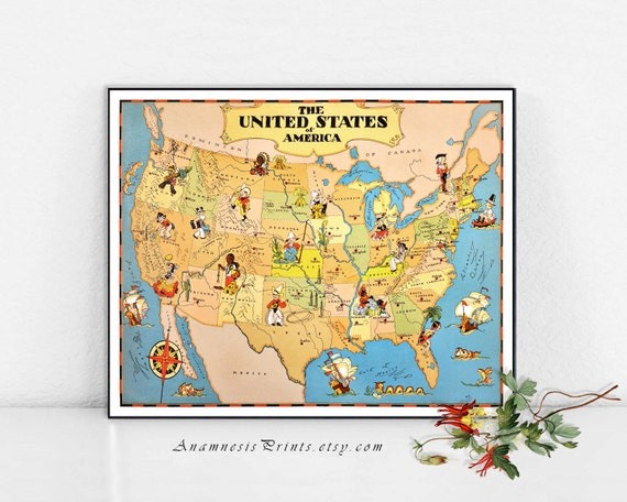 UNITED STATES Map Print Vintage USA Picture Map To Frame Etsy - United states map picture frame