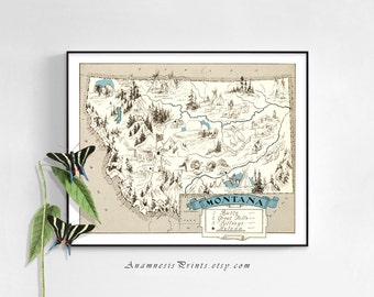 MONTANA MAP PRINT - Montana art print - perfect housewarming or wedding gift - size & color choices - can be personalized