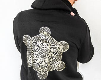 MENS zip through Metatrons cube dimensional hoodie