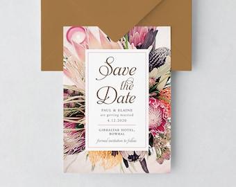 Native Australian Floral Save the Date Card Printable, Save The Date Invitation, Native Floral, Rustic Invite, Printable