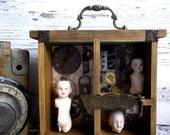 Victorian Times Nostalgic Mixed Media Shadowbox Anitique Dolls Mixed Media Assemblage ETSY Steampjnk Art