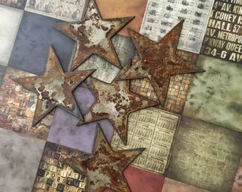 Rusty Stars Decor DIY 6 Extra Large Metal Babys Room Accents Rustic Supply ETSY Stencils Crafts