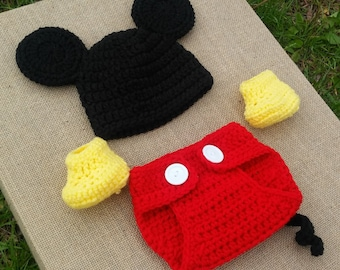 1aa35b99dea Handmade Crochet Newborn baby boy Mickey Mouse Hat Diaper Cover and  booties
