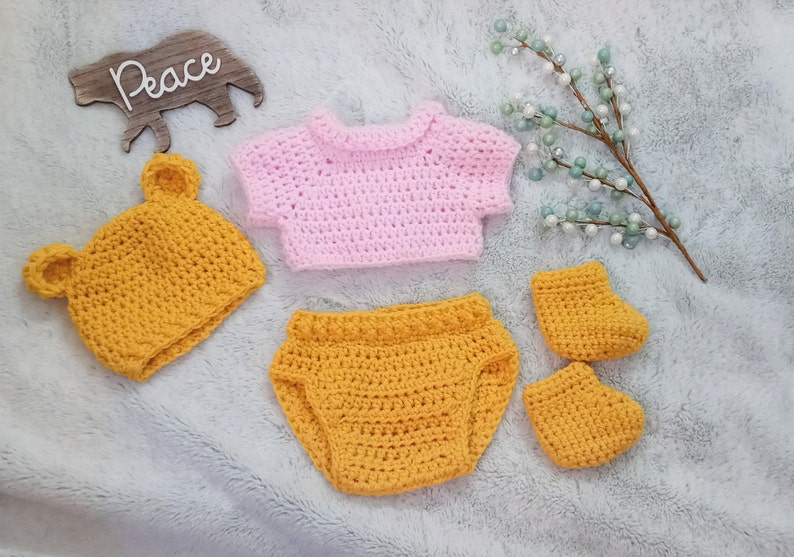 Crochet Winnie the Pooh Set newborn pooh bear hat baby disney outfit infant winnie the pooh costume bear hat baby shower gift photo prop