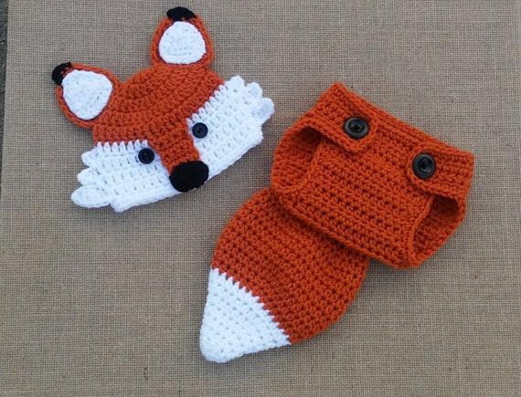 Baby fox hat Crochet fox Hat and Diaper Cover newborn Fox  271507d76a8