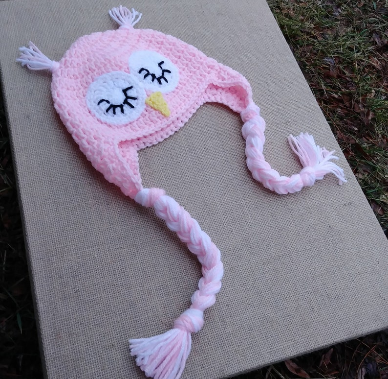 Crochet Owl Hat Earflap Hat Owl Beanie Sleepy Owl Hat Etsy