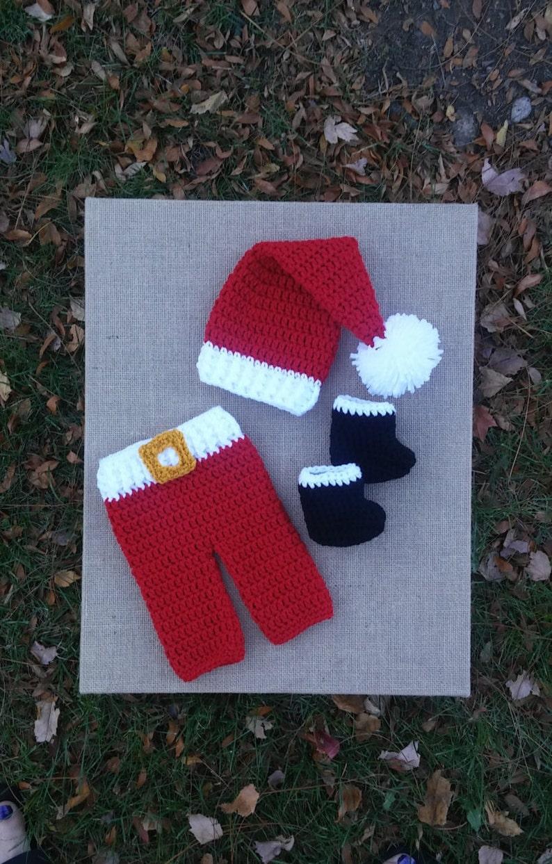 073cd75e0 Crochet Santa Hat and Pants , baby boy christmas photo prop, newborn santa  hat, crochet christmas hat, newborn outfit christmas, santa hat