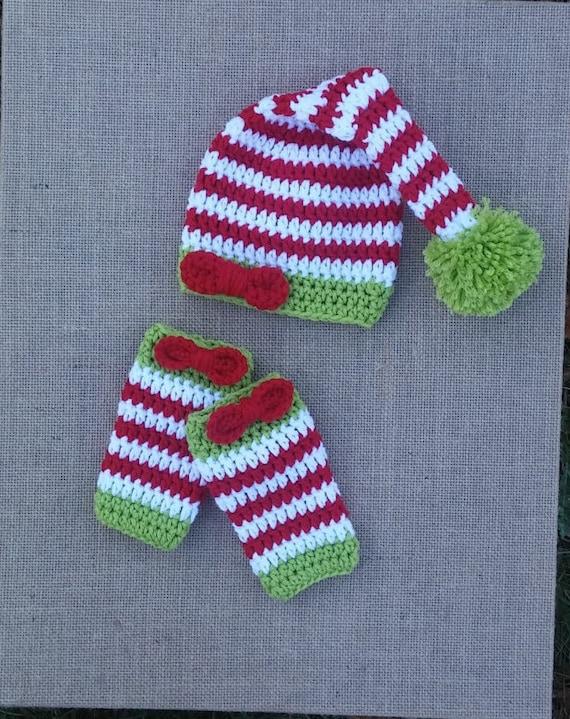 Crochet baby girl elf Hat set baby christmas photo prop  22ffb89a3121