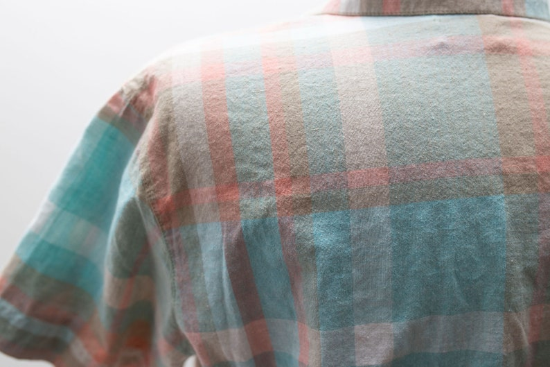 Vintage Suburban Petites Plaid Short Sleeved Button Up Top Orange Blue Teal Plaid