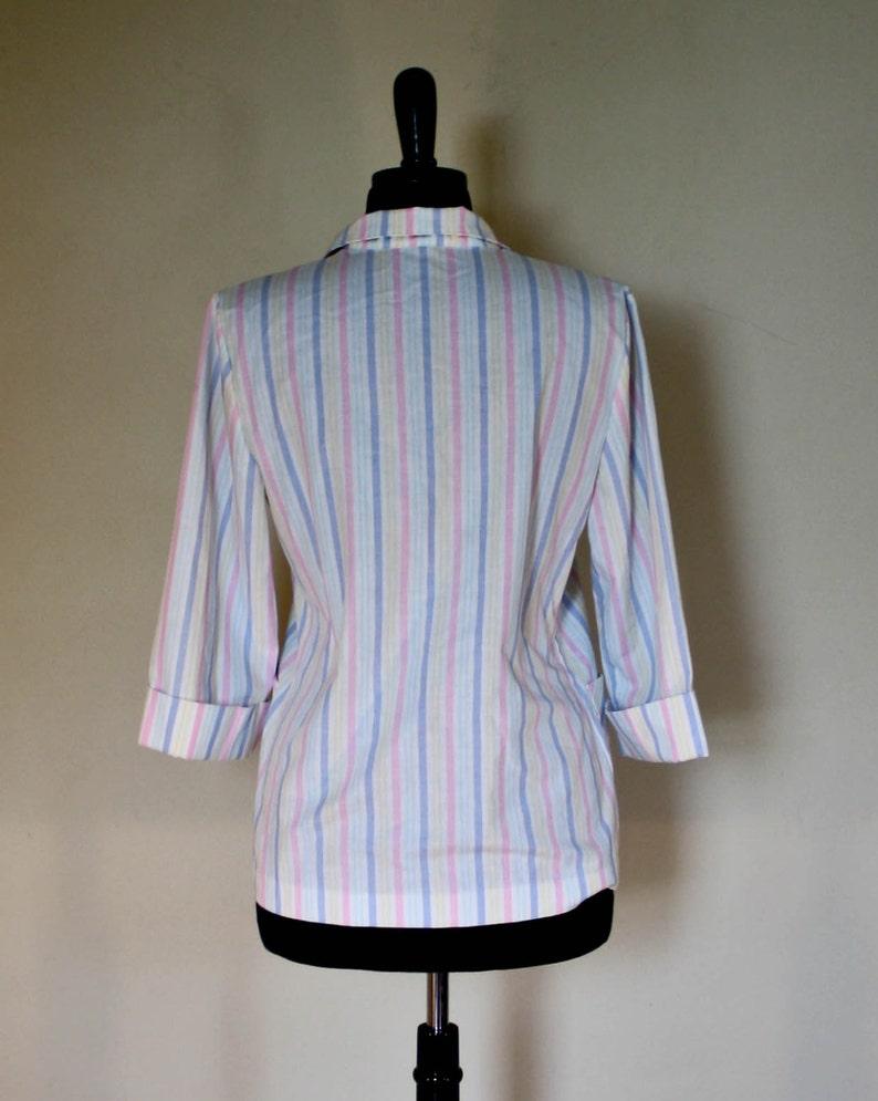 Vintage Pastel Rainbow Striped Blazer 1980s 34 Length Sleeve Candy Striped