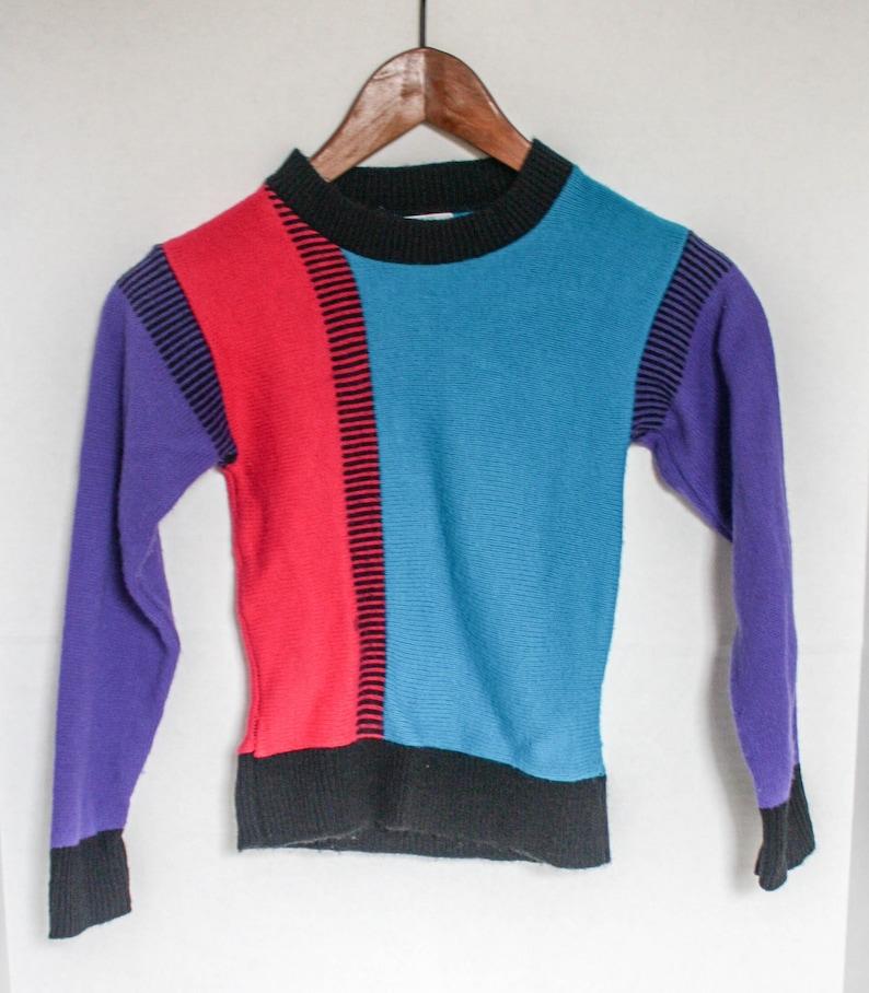 Vintage 90s Kids Sweater Health Tex Color Block Teal Pink Purple Black Size M 6 1990s Retro