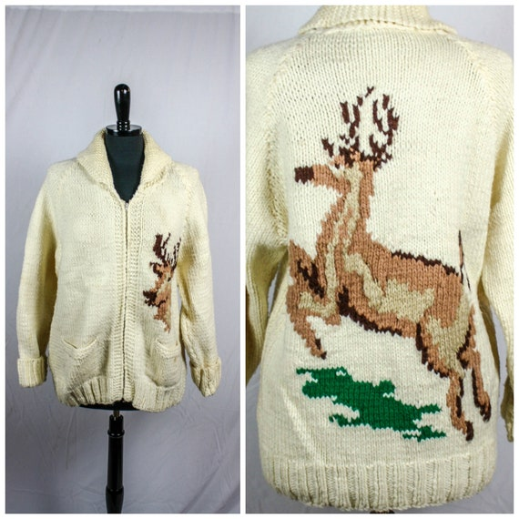Vintage Mary Maxim Hand Knit Wool Leaping Stag Dee