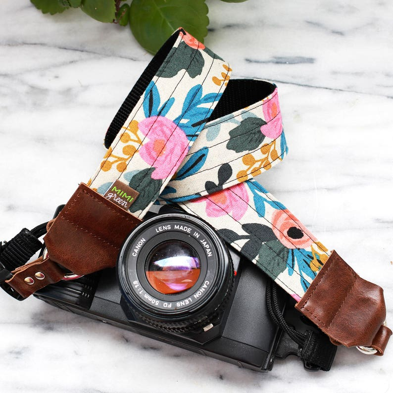 bb47cf14d58 Rifle Paper Co. Camera Strap in FLEUR with Side Release