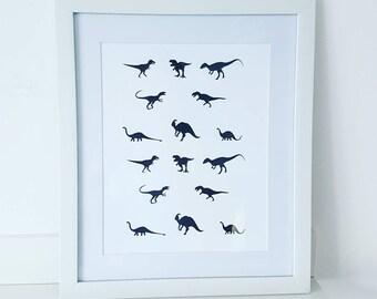 Dino Silhouette Print