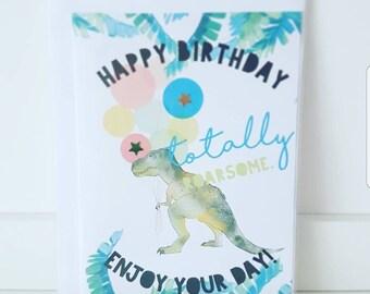 Totally Roarsome Dino Birthday Card