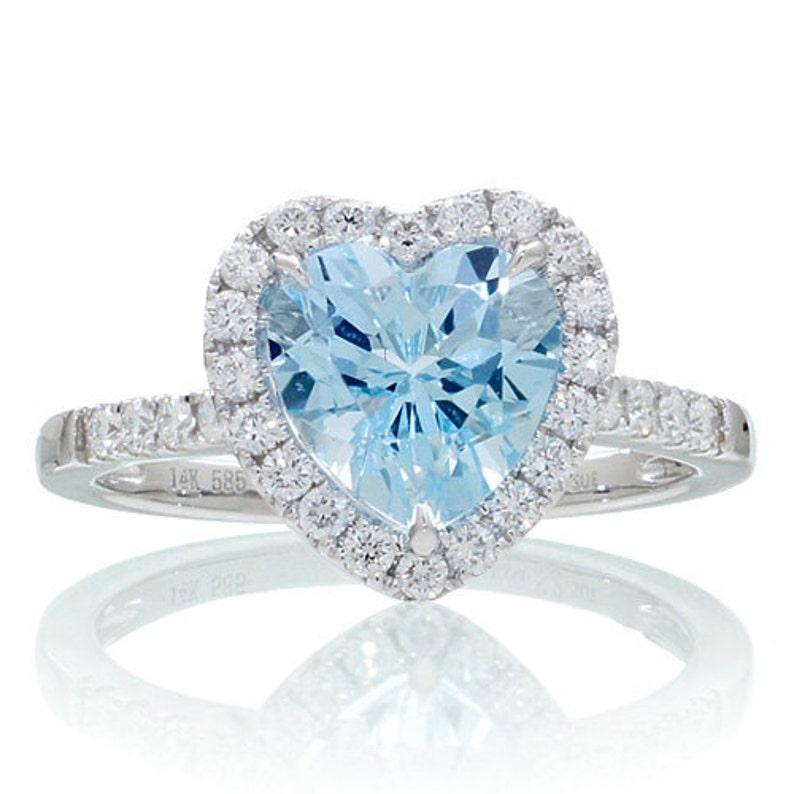 Heart Shape Cut Aquamarine Diamond Solitaire Ring image 0
