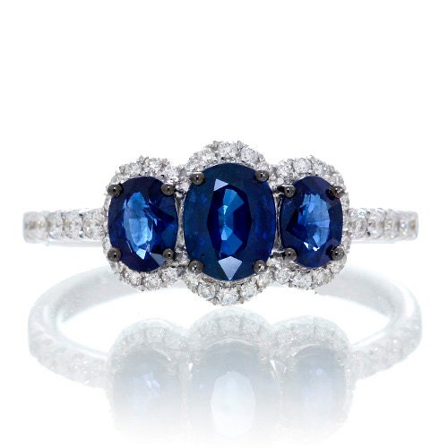 18K White Gold Three Stone Blue Sapphire Diamond Halo Accent Solitaire Style Ring