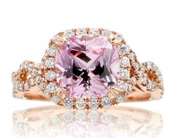Rose Gold Diamond Halo Twist Sapphire Ring with Lab Created Light Pink Sapphire