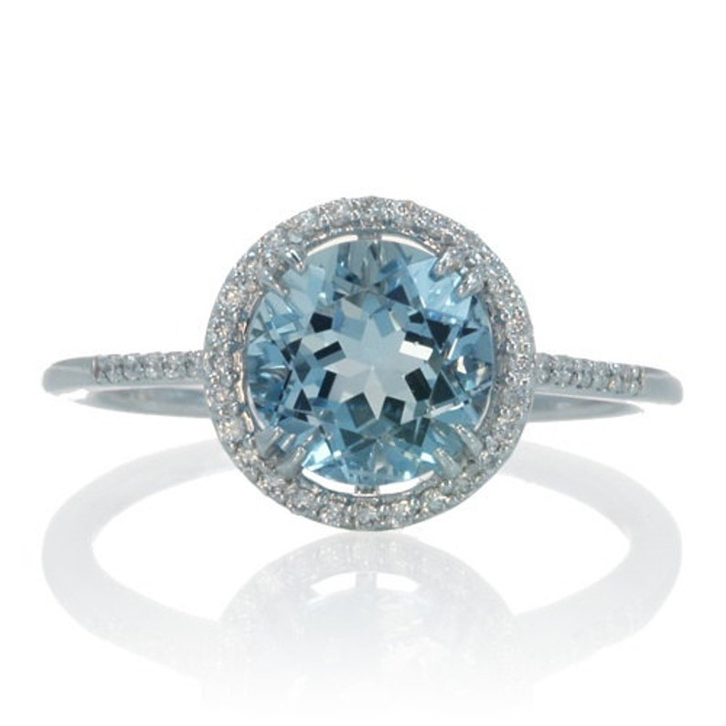 6494e1c40ff 14 Karat White Gold Diamond Halo Round Aquamarine Engagement