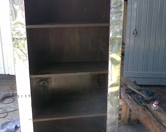 Aviation furniture bookcase, old trunk style, rounded top and bottom