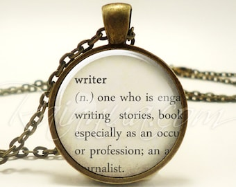 Gifts For Writers, Authors Necklace, Dictionary Jewelry (1979B1IN)