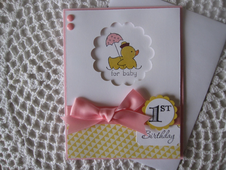 Handmade Greeting Card Baby Girls 1st Birthday
