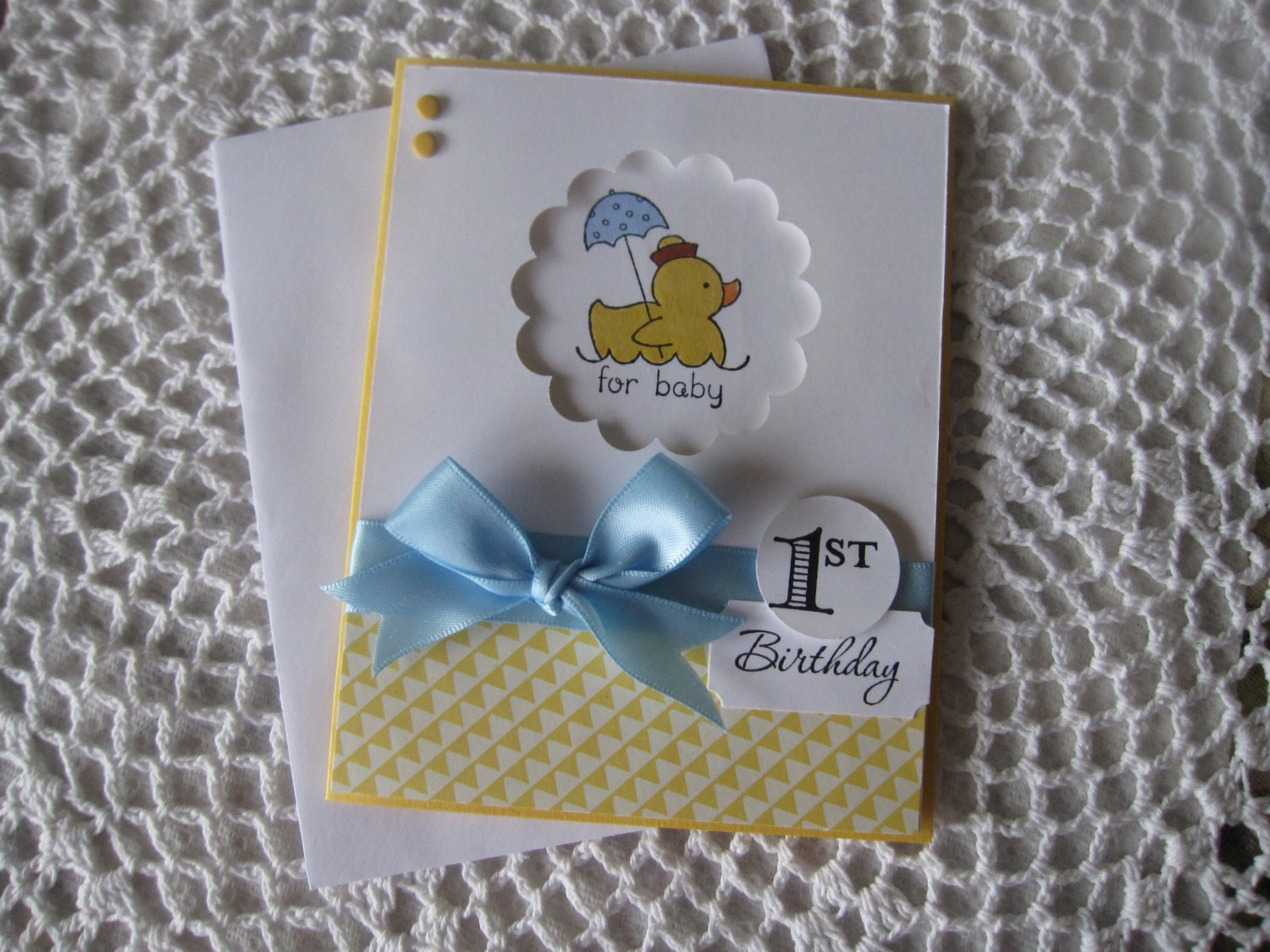 Handmade Greeting Card Baby Boys 1st Birthday MADE TO