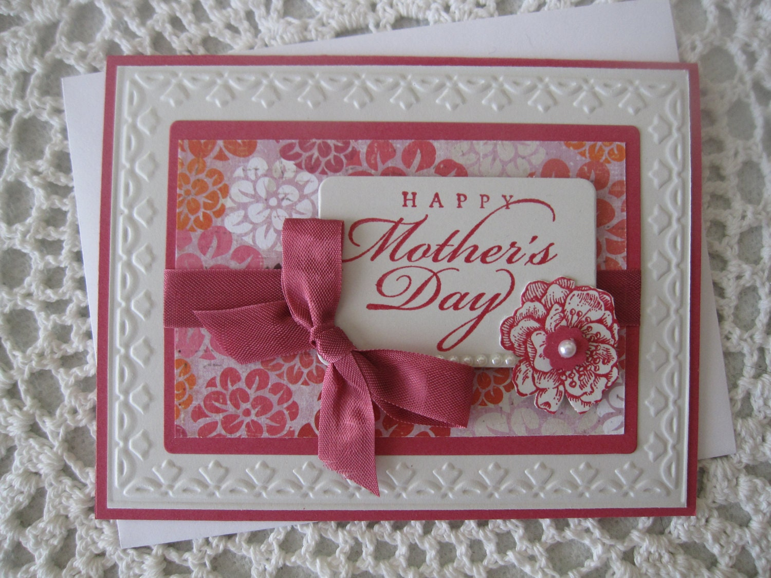 handmade greeting card happy mother's day pink  etsy