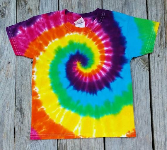 M L Youth Tie Dye T-Shirt Tye Died Spirals Tee XS XL Boys Girls Kids Child S
