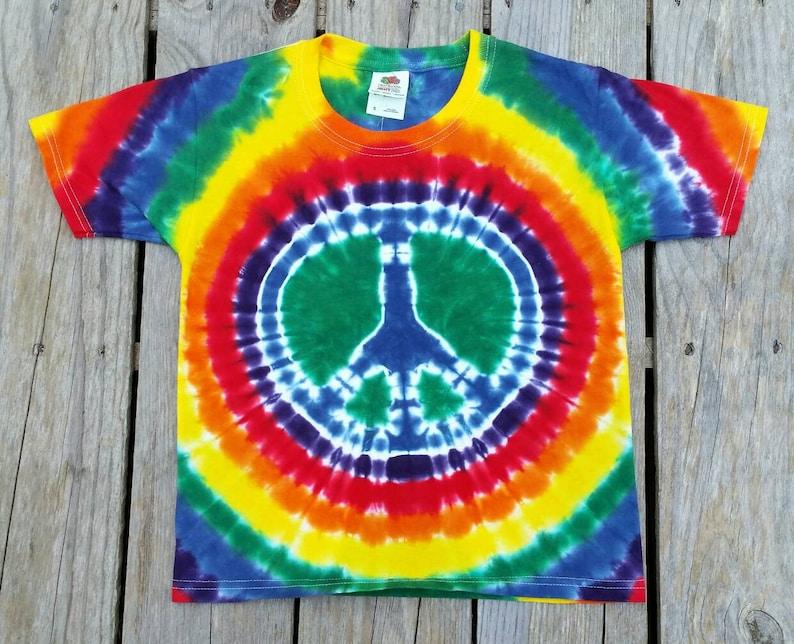 44b421b3449dd Kids Tie Dye Peace Sign T-Shirt Youth Small Rainbow Tie Dye   Etsy
