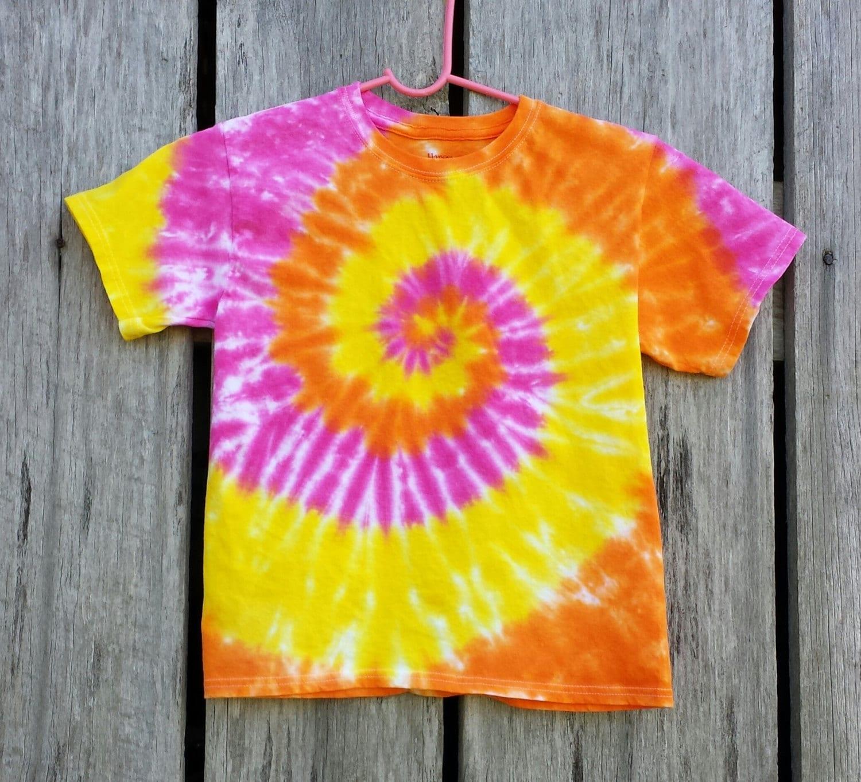 Women\'s Plus Size Orange Yellow and Pink Tie Dye Shirt