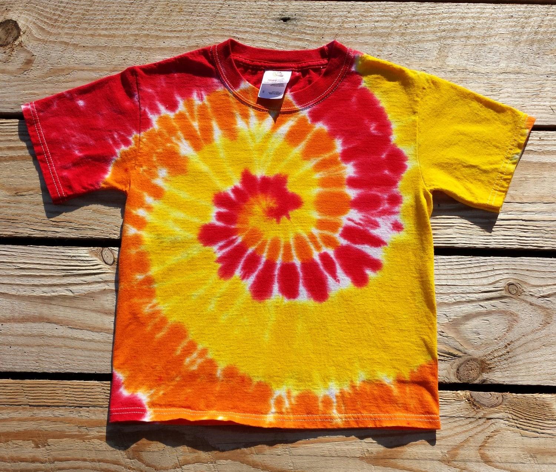 Youth Red Orange Yellow Tie Dye T-Shirt S M L XL Hippie | Etsy