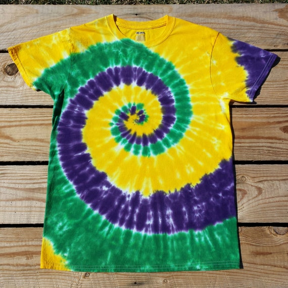 25c3cc1f3db80 Kid's Mardi Gras Tie Dye T-Shirt, Youth Sizes S M L XL, Purple Green and  Gold Tie Dye Shirt, Hippie Kids, Fat Tuesday