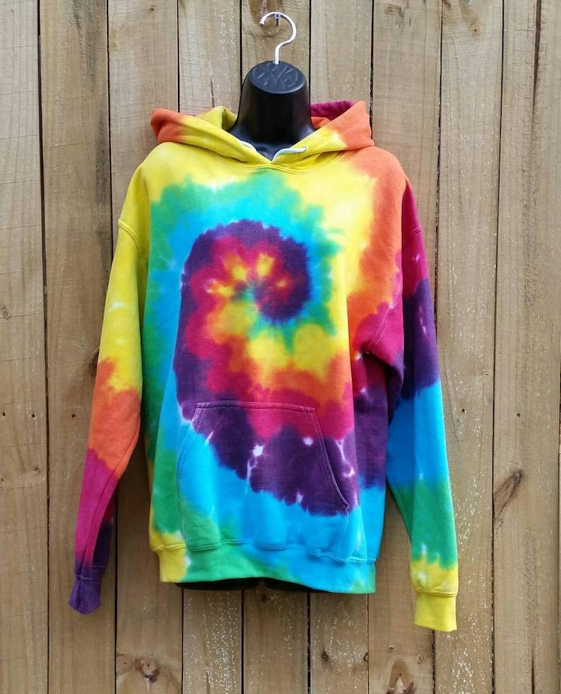 592a9e2b8a99a Women's Blue Rainbow Tie Dye Hoodie, S M L XL 2XL 3XL, Adult Pullover  Sweatshirt, Hippie Hoodie, Festival Sweatshirt, Tie Dye