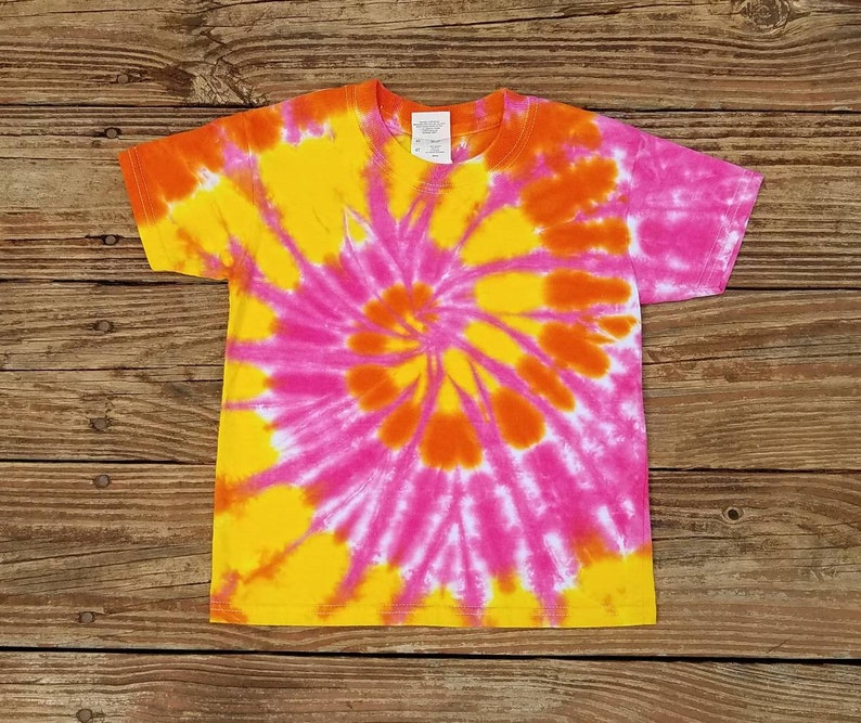 29d76016 Toddler Tie Dye T-Shirt 4T Pink Orange and Yellow Tie Dye | Etsy