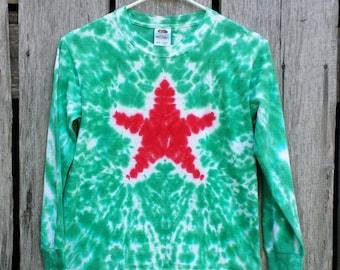 Kids Christmas Tie Dye Shirt, Long Sleeve Tshirt, Kids Sizes S M L XL, Red and Green Tie Dye, Holiday Shirt, Boys, Girls