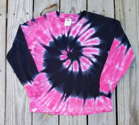 1dbc075ce7b8 Women's Tie Dye Long Sleeve Shirt Pink and Black Tie Dye | Etsy