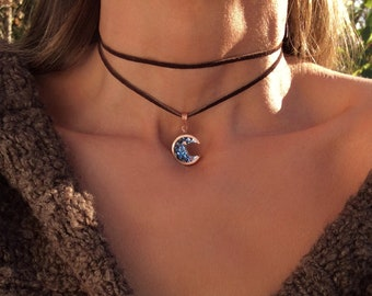 Bismuth and Copper Moon Choker Necklace with Adjustable Clasp