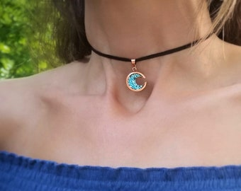 Crescent Moon Choker - Bismuth Crystal and Copper Necklace - Custom Single Wrap Choker