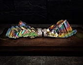 """Ornithopter - Gravity Defying Bismuth, Kinetic Art Sculpture,  """"Monarch"""" with Floating Magnet"""