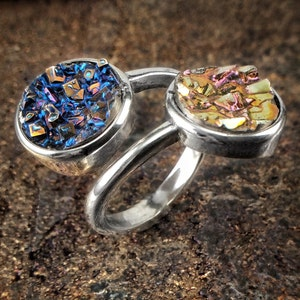 Copper Tone Jewelry Sun and Moon Bismuth Crystal Ring