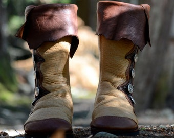 Renaissance Boots: Made to Order - Custom Moccasin Boots - Leather Boots with Pirate Cuff - Brown Leather Boots - Medieval Boots - Moccasins
