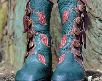Jade Forest Moccasin Boots w Leaves: Made to Order - Elven Pixie Boots - Women's Leather Boots - Elf - Boho - Custom Fitted - Custom Design