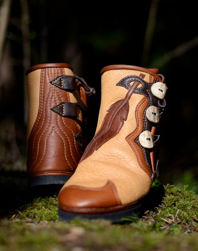 f1f0dcc7bca68 Feather & Leather Moccasin Boots - Custom Moccasins - Earth Boots - Women's  Boots - Fairy Moccasins - Forest Pixie Boots - Feather Design