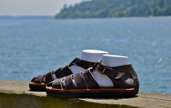 Men's Closed Toe Leather Sandals Elegant Sandals for Men Versatile Leather Sandals Brown Leather Sandals Tan Leather Sandals
